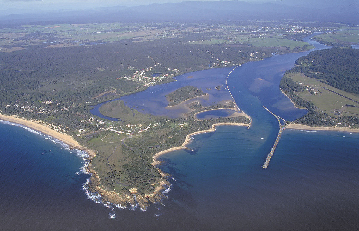 Moruya River mouth ... the rock walls produce big fish. Picture John Lugg, NSW Govt