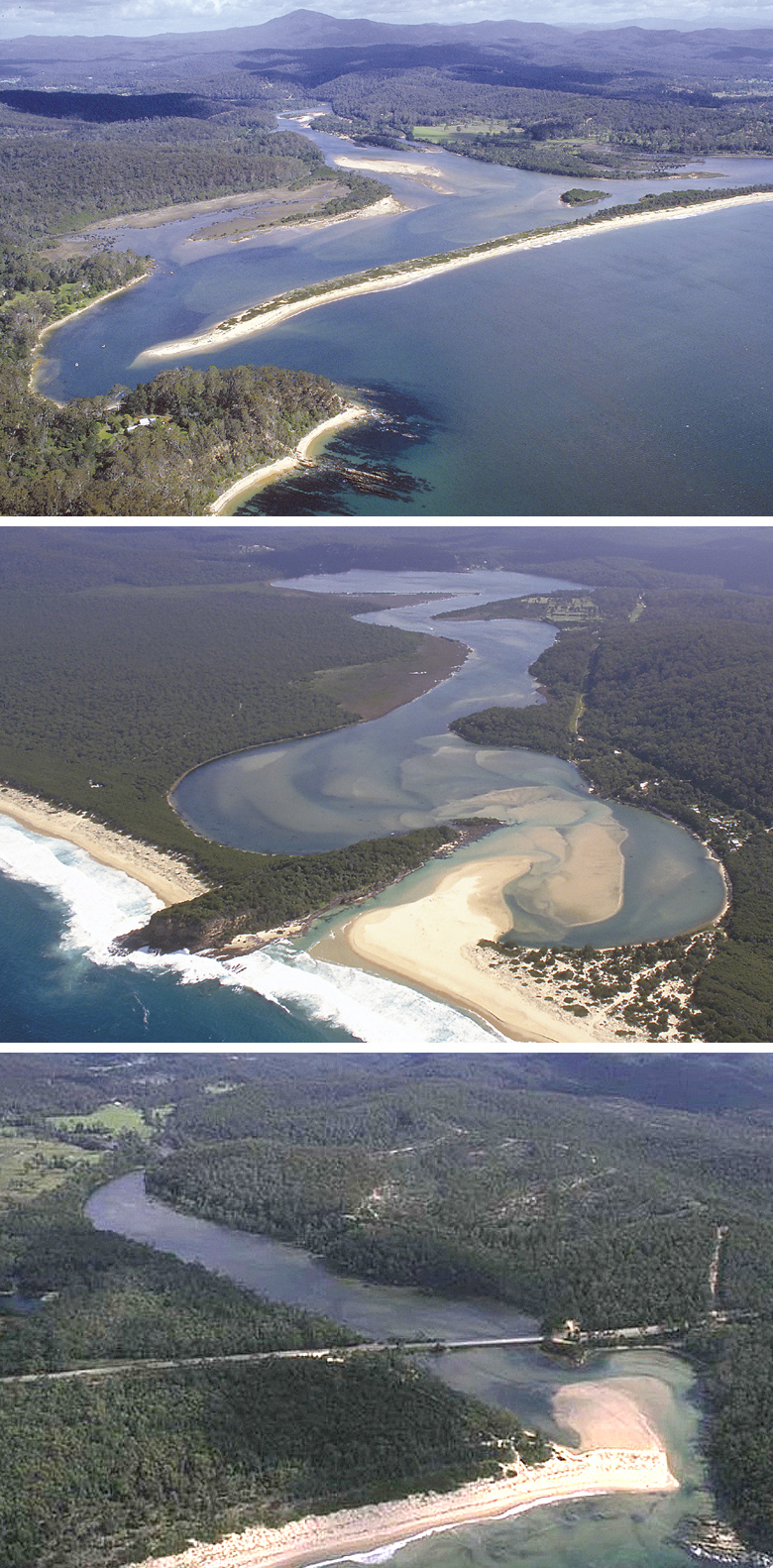 The Towamba (top), Wonboyn (middle) and Nullica (bottom) estuaries, all near Eden. Pictures John Lugg, NSW Govt