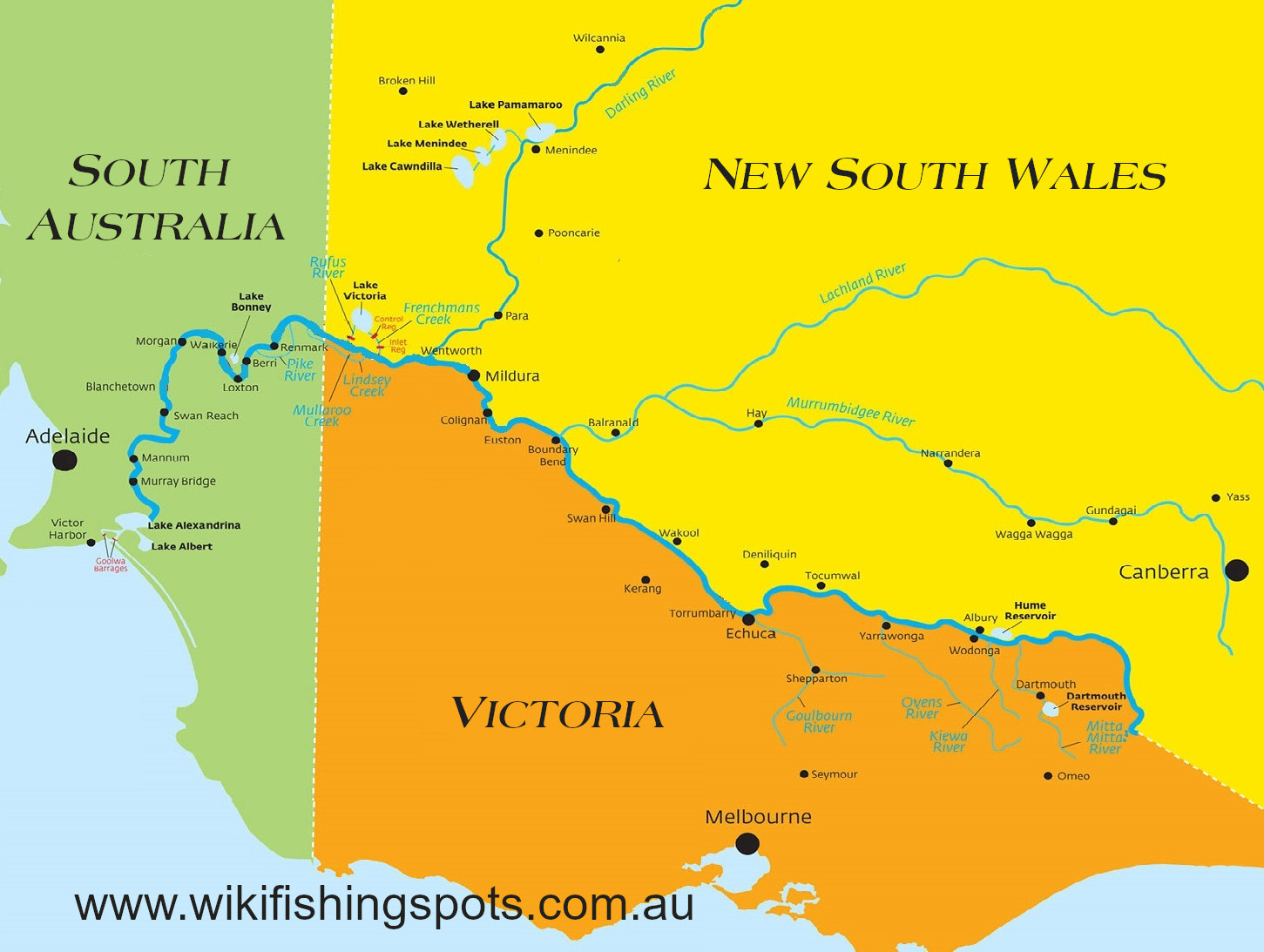 The mighty Murray River spans three states. Image adapted from SA WATER online map