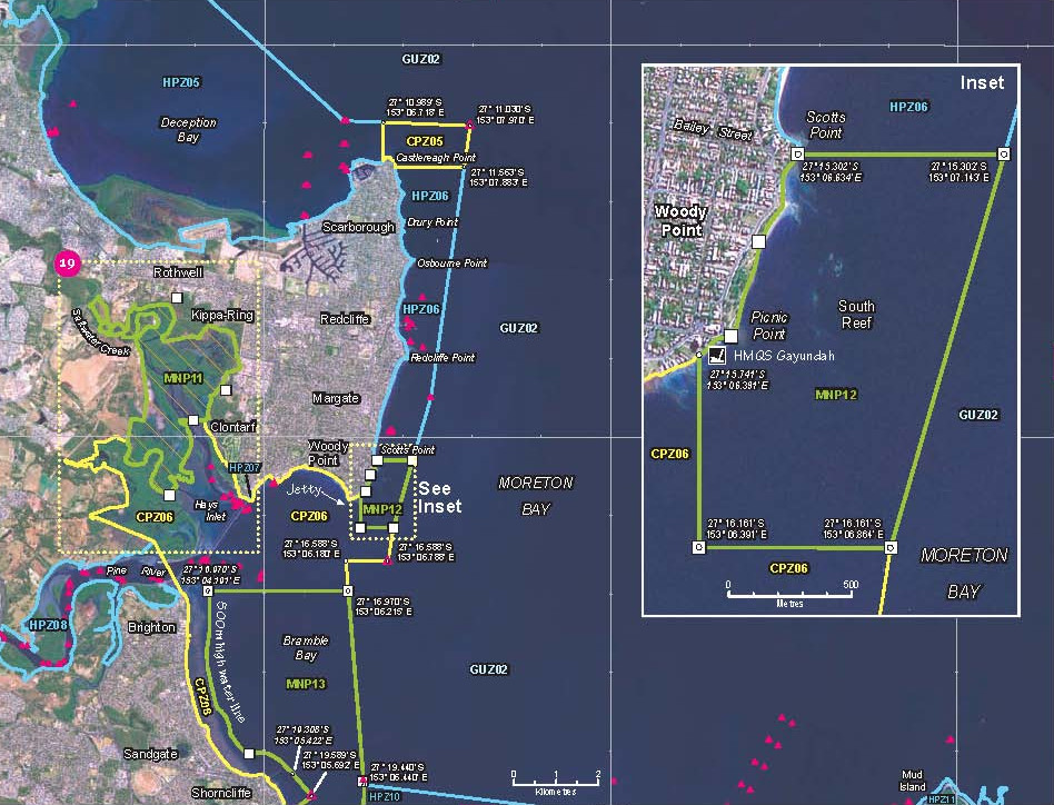 A Redcliffe Peninsula coast marine park zoning map