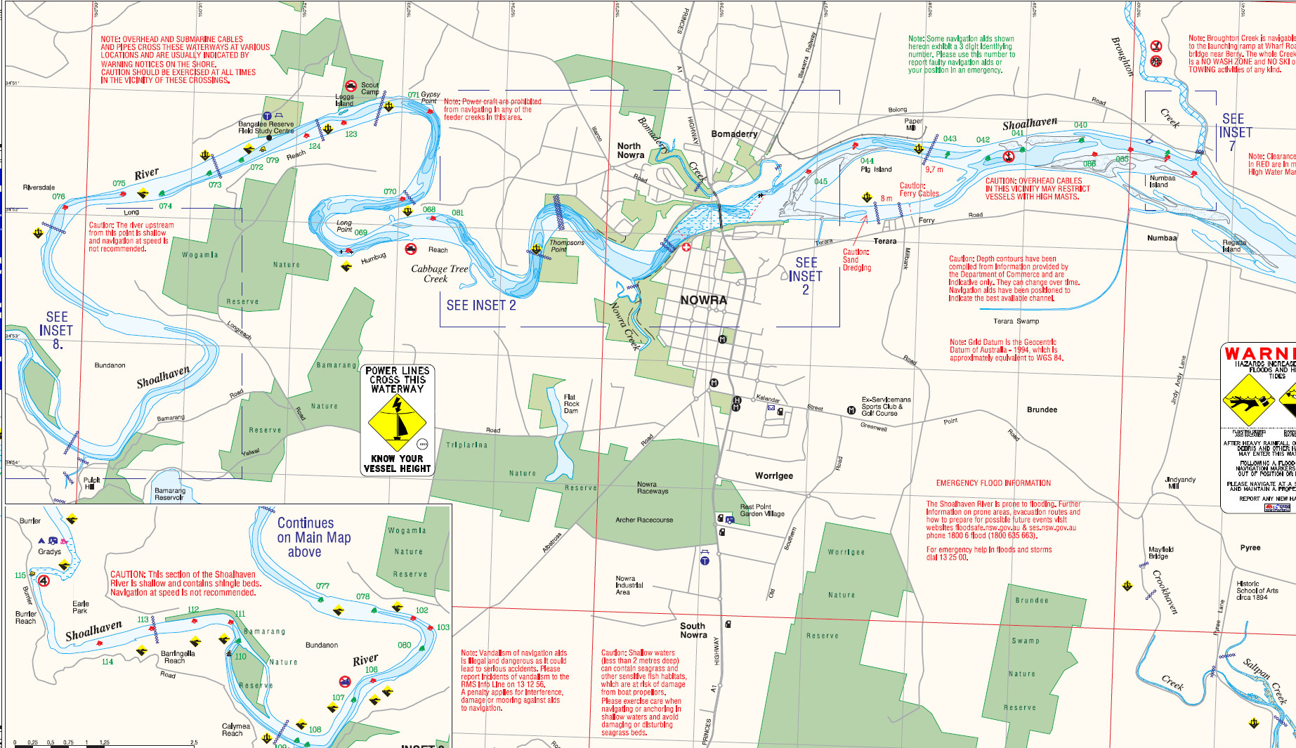 Part of a Nowra boating map by the NSW Government
